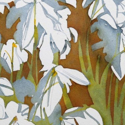 A painting of some white flowers.