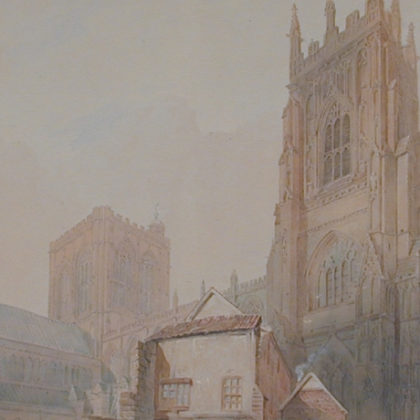 A watercolour painting of York Minster.
