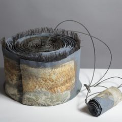 Ceramic abstract sculpture with wire detail