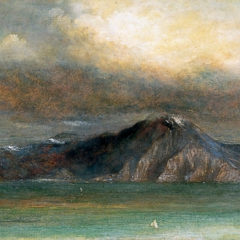 An oil painting of a mountain next to the sea.