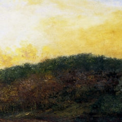 An oil painting of a forest. There are yellow clouds above it and a man and two horses in front of it.