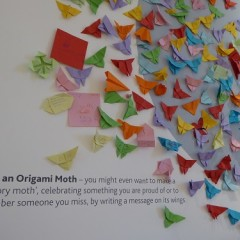 A community project inviting visitors to make origami moths
