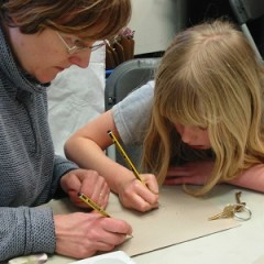 A mother and daughter take part in drawing at York Art Gallery.
