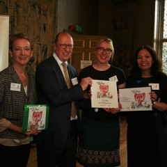 Family Friendly Museum Award 2016 winners York Art Gallery receiving their award. Left to right: Sandie Dawe CBE, Chair of Trustees, Kids in Museums; Andrew McKay, Director, Tullie House Museum & Art Gallery; Gaby Lees, Assistant Curator of Arts Learning; Reyahn King, Chief Executive of York Museums Trust.
