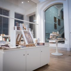 Shop displays in an art gallery