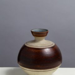 Round ceramic vase with thin neck and brown, beige and blue glaze