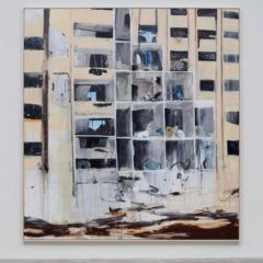 Abstract painting of an apartment block