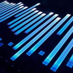 Black background with strips of blue