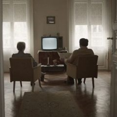Photo of a couple sat in armchairs with backs to camera watching a blank TV