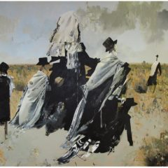 Abstract painting of black and white costumes in a field