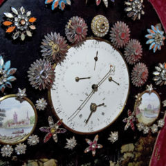 A highly decorated clock.