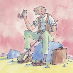 An illustration of a sitting giant holding a person in his hand.