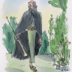An illustration of a man wearing a cloak and holding a musical instrument.