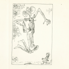 A drawing of a woman and a child. The woman is jumping and holding a bottle.