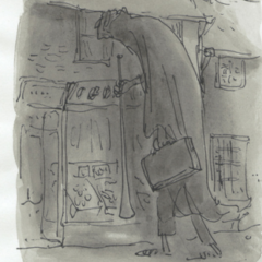 A man wearing a cloak and hold two items. He's staring through a window.