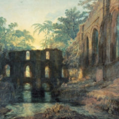 A painting of some building ruins.