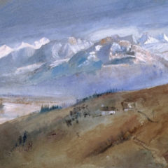 A watercolour painting of a mountain range.